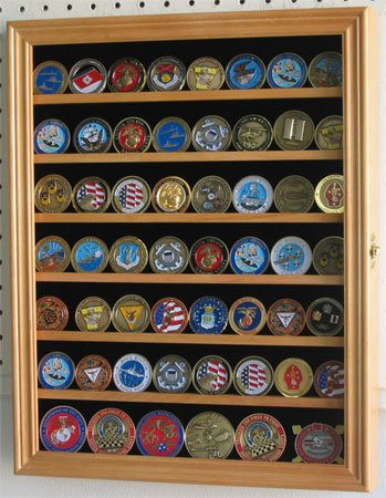 Military Challenge Coin Display Cabinet Rack Shadow Box Wood Cabinet, COIN56 (Oak)