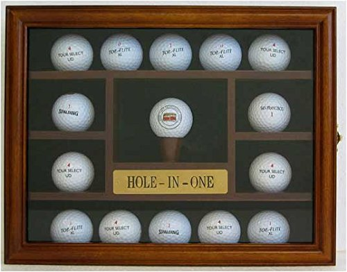 15 Golf Ball Display Case Holder Wall Cabinet, Hole-In-One Plate, (Walnut Finish)