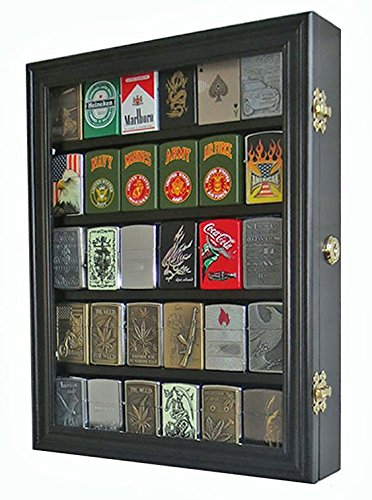 Lockable Cigarette/Sport Lighter Display Case Wall Cabinet Shadow Box LC30 (Black)