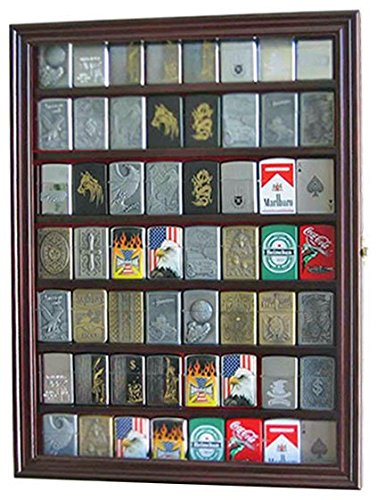56 Sport/Military Cigarette Lighter Display Case Rack Holder Cabinet, (Mahogany Finish)