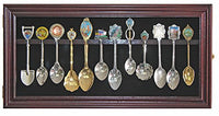 12 Souvenir Spoon Display Case Rack Cabinet Holder Shadow Box, Real Glass Door, Wall Mount, MAHOGANY Finish