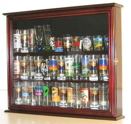 Wall Mounted Curio Cabinet / Sports Shot Glass Display Case, Solid Wood, Glass Door, SC04B-MAH