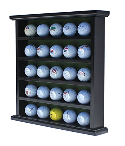 DisplayGifts Golf Ball Display Case Wall Rack Cabinet, NO Door, GB25 (Black)