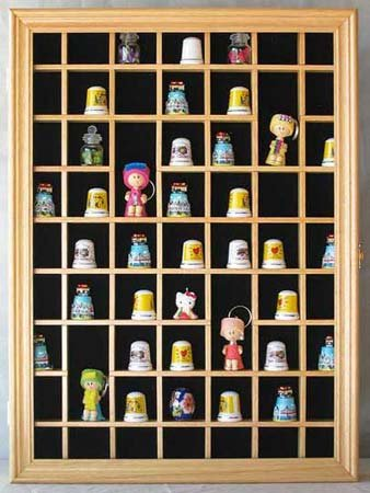 59-Opening Souvenir Thimble Small Miniature Display Case Cabinet Rack Holder, Glass Door, Solid Wood-TC01-NA