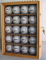 Solid Wood 20 Baseball or Cube Display Case Cabinet, with 98% UV protection. with Lock and Keys (Oak Finish)