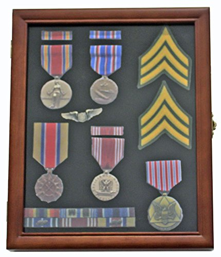 Medal Display Case Award Shadow Box, with glass door, Wall Mountable, Walnut Finish