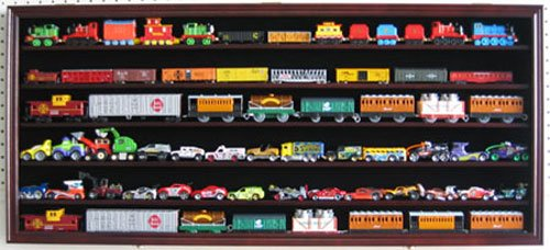Large HO, N Scale Trains, Hot Wheels, Lego Minifigures Display Case Rack Wall Cabinet Wall Shadow Box w/ UV Protection- Lockable-Mahogany Finish (HW05-MA)