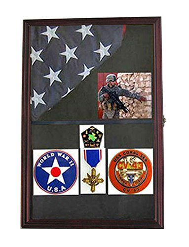Military Shadow Box Flag Display Case Medal Keepsake Box, Solid Wood, Glass Door, Wall Mountable, (Mahogany Finish)