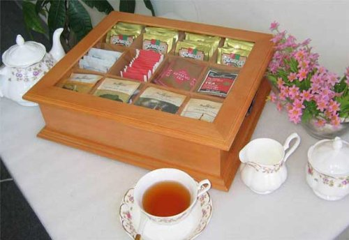 Large Tea Bag Chest Cabinet / Tea Bag Storage Box, Solid Wood (Oak Finish)
