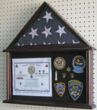 Military Shadow Box Flag Display Case Stand for 4' X 6' Flag Exclusive (Mahogany Finish)