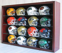 16 Mini Football Helmet Display Case Cabinet Wall Rack w/UV Protection Door (Mahogany Finish)