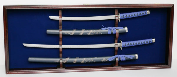 Martial Art/Samurai Sword Display Case Holder Wall Cabinet, Hold 2 sword, KCS08(BLUE)-MAH