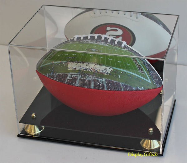 DisplayGifts Full Size Football Display Case Stand, UV Protection