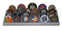 4 Rows Military Challenge Display Coin Holder Stand (Silver Finish)