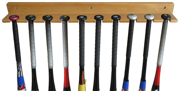 Baseball Bat Display Rack Wall Hanger, Holds 10 Bats, solid wood (Oak Finish)