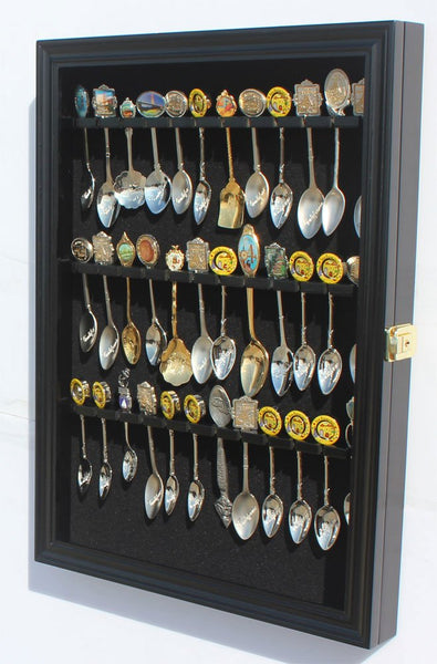 36 Tea Spoon Souvenir Spoon Display Case Holder Wall Cabinet, UV Protection. Lockable (Black Finish)