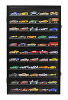 Hot Wheels Matchbox 1/64 scale Diecast Display Case Cabinet Wall Rack w/UV Protection HW11 (Black Finish)