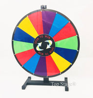 "24"" Prize Spin Wheel Spinner with Color Dry Eraser, Trade Show Game Carnival Spinner (24"" Table Top Stand)"