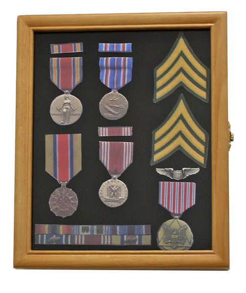 Military Medals, Pins, Award, Insignia, Ribbons Display Case Shadow Box Frame, Oak Finish