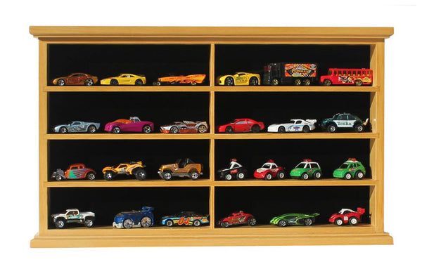 Kid-Safe Hot Wheels Matchbox Car Display Cases Rack Cabinetor Stand, HW-MH07 (Oak)