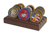 Military Challenge Coin Holder Stand Display (Walnut), Case CN06