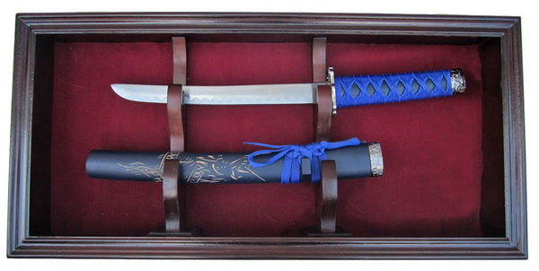 Display Case Wall Mounted Cabinet for Dagger, KA-BAR, or Short Sword, Mahogany Finish