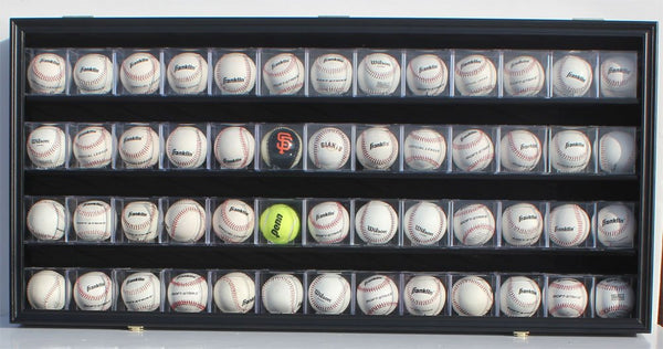 Baseball CUBES Display Case Wall Shadow Box Cabinet, UV Protection, Lock, B-HW14 (Black Finish)