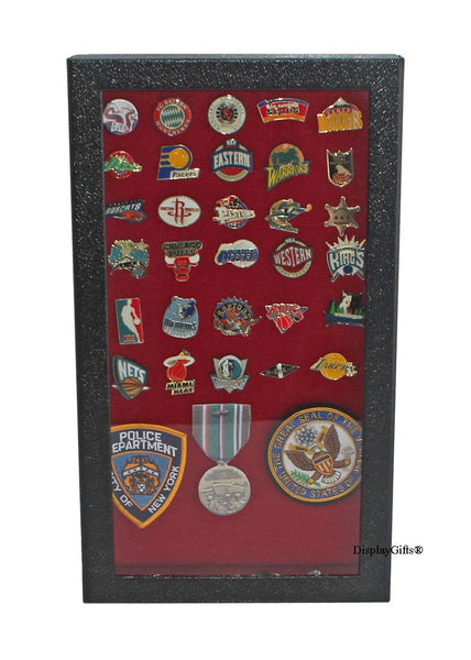 Pin Collector's Display Case Shadow Box - for Disney, Hard Rock, Olympic, Political Campaign Pins, and Medals (Red Color Background)