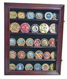 LOCKABLE 30 Military Challenge Coin, Sport Competition Coin, Casino Chip Display Case Wall Mounted Cabinet, with Lock (Mahogany Finish)