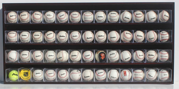 52 Baseball Cubes Display Case Wall Cabinet, B-HW15 (Mahogany Finish)