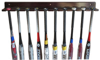 Baseball Bat Display Rack Wall Hanger, Holds 10 Bats, solid wood (Mahogany Finish)