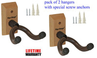 Top Stage 2-PACK Hardwood Home & Studio Guitar Hanger Wall Stand, JX18-NAT-Q2