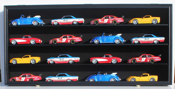 NASCAR Diecast Model Car Display Case Hot Wheels Wall Cabinet Holds 16 Cars 1/24 Scale, with door (Black Finish)