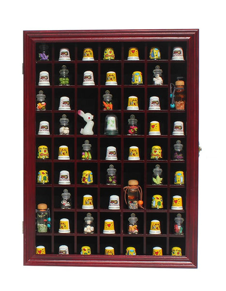 59-Opening Thimble Small Miniature Display Case Cabinet Rack Holder TC01 - (Cherry Finish)