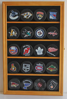 20 Hockey Puck Display Case Cabinet Holder Wall Rack 98% UV Protection (Oak Finish)