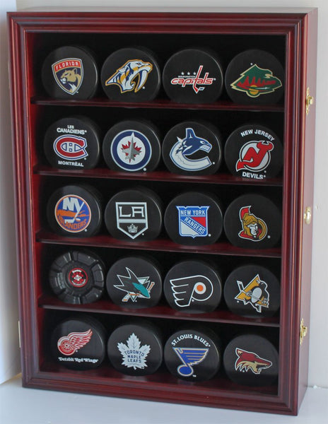 Hockey Puck Display Case Shadow Box Wall Cabinet (Pucks not inlcuded), UV Protection Door (Cherry)