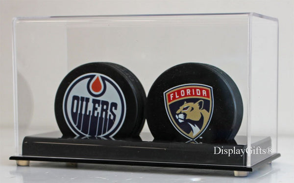 Hockey Puck Holder Display Case Stand (2-Puck Stand)