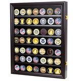 DisplayGifts Lockable Military Challenge Coin Casino Chip Display Case Cabinet Rack Shadow Box, COIN26-BLA