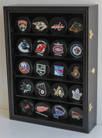 Hockey Puck Display Case Shadow Box Wall Cabinet (Pucks not inlcuded), UV Protection Door (Black)