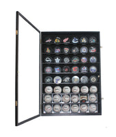 48 Baseball, Baseball Cubes, Hockey Pucks Display Case Holder Wall Cabinet, UV Protection Door, Lock. (Black Finish)