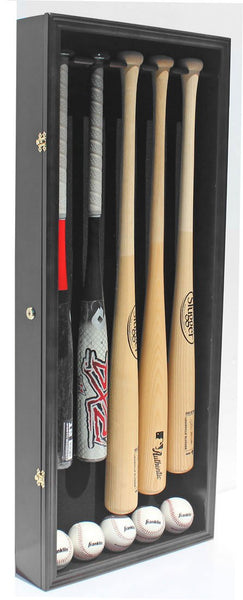 Pro UV 5 Baseball Bat Display Case Holder Rack Wall Cabinet, Horizontal / Vertical Wall Mount B55 (Black Finish)