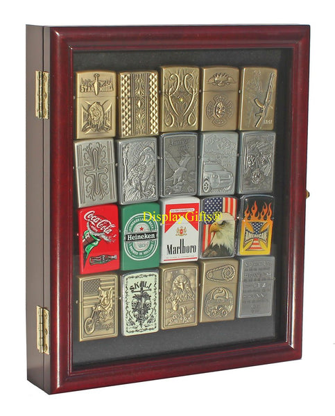Small Display Case Wall Cabinet for Collectilbe Cigarette Lighters LCKC02 (Cherry Finish)