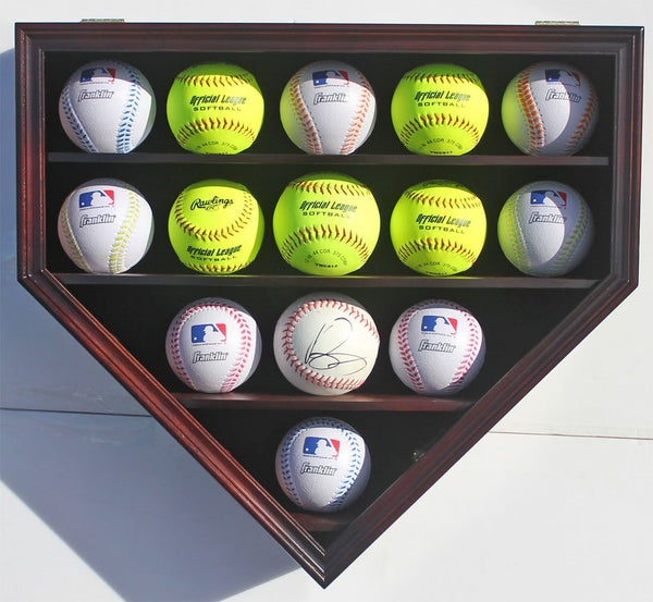 14 Softballs or Baseball Cubes Display Case Cabinet Wall Rack Home Plate Shaped w/UV protection (Mahogany Finish)