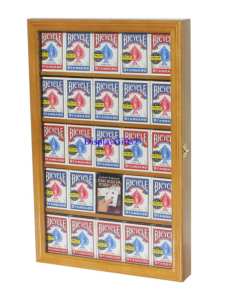The Playing Card Frame - 25 Decks of Card Display Case Shadow Box Wall Cabinet, PKCC01 (Oak Finish)