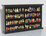 Kid-Safe Toy LEGO Minifigures Miniatures Figurines Display Case Wall Cabinet Stand, Solid Wood (Black)