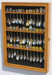 36 Tea Spoon Souvenir Spoon Display Case Holder Wall Cabinet, UV Protection. Lockable (Oak Finish)