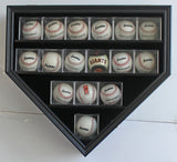 14 Softball Display Case Cabinet Wall Rack Home Plate Shaped w/UV protection B09 (Black Finish)