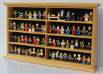 Kid-Safe LEGO Minifigures Miniature Dimensions Display Case Wall Cabinet Stand, Solid Wood (Oak)