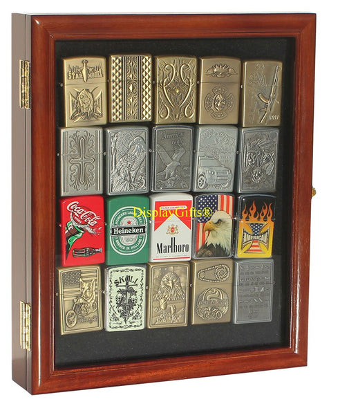 Small Display Case Wall Cabinet for Collectilbe Cigarette Lighters LCKC02 (Walnut Finish)
