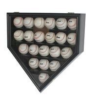 Solid Wood 21 Baseball Display Case Cabinet Holder, w/UV Protection, Lockable (Black)